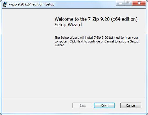 Установка архиватора 7-zip