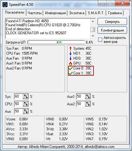 Температура процессора вSpeedFan