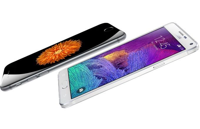 Толщина Galaxy Note 4 и iPhone 6 Plus