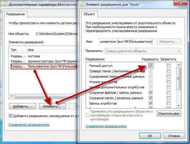 Разрешение безопасности файла hosts