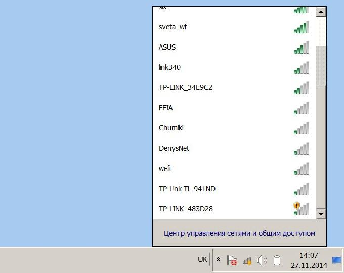 Доступные сети wi-fi