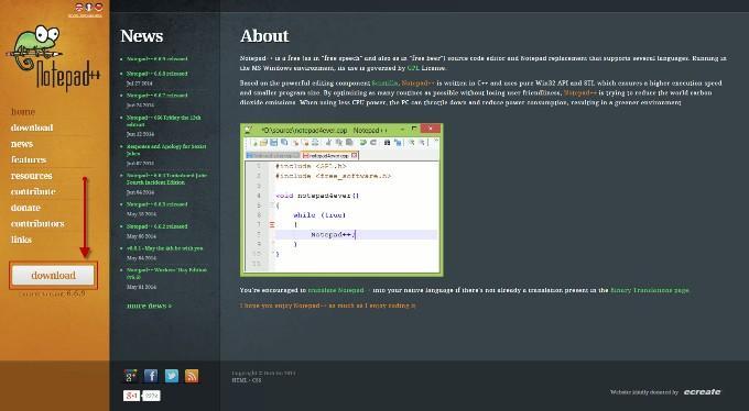 Сайт notepad++