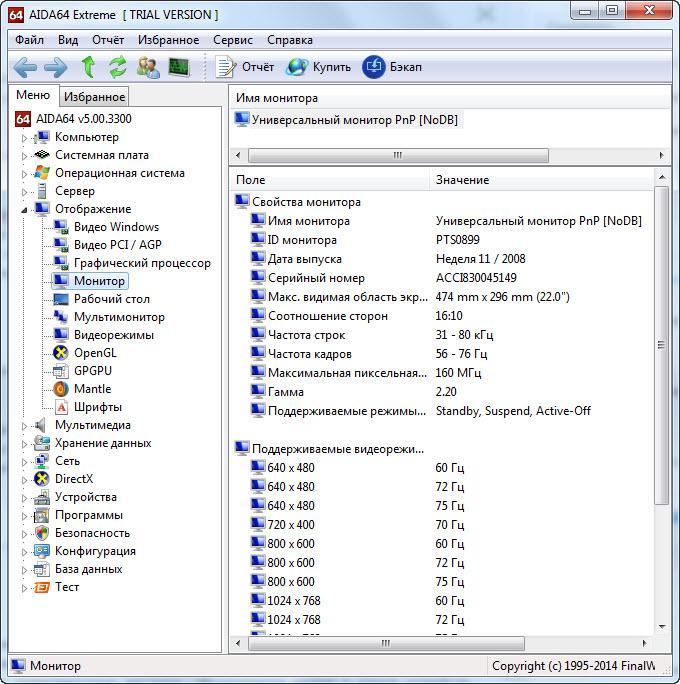 Характеристики монитора компьютера
