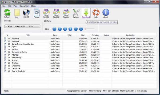 Accord CD Ripper Free - для копирования музыки с диска на компьютер