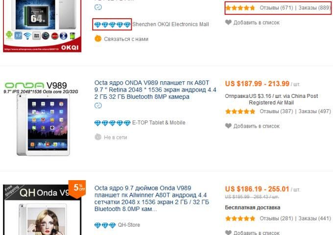 Рейтинг китайских продавцов